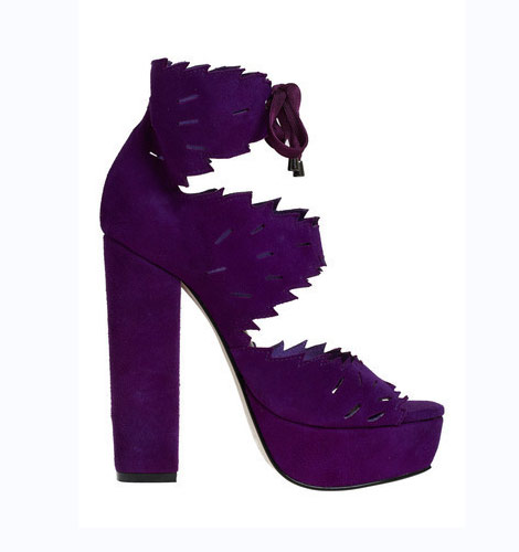 Purple platforms high heels sandals