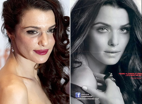 rachel weisz too photoshopped for L Oreal ad campaign