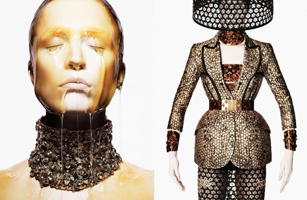 Raquel Zimmermann honey dipped Alexander McQueen Spring 2013
