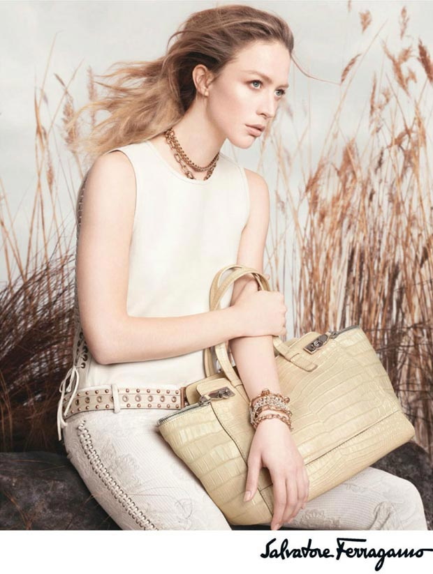 Raquel Zimmermann's Weird Hair: Salvatore Ferragamo Spring 2013 Ads