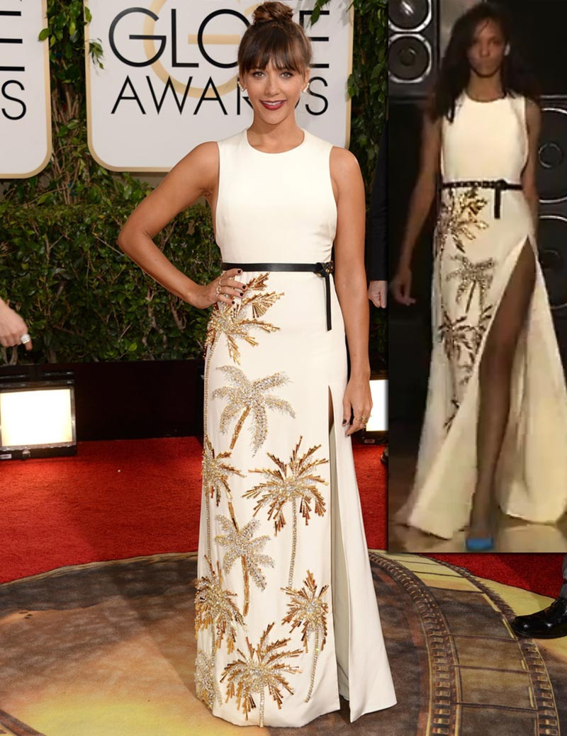 Rashida Jones white dress Fausto Puglisi Golden Globes 2014