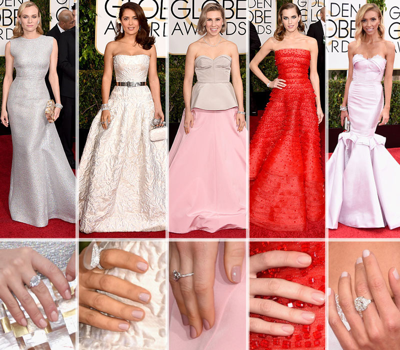 Red Carpet nails trends Diane Kruger Salma Hayek Zosia Mamet Allison Williams Giuliana Rancic