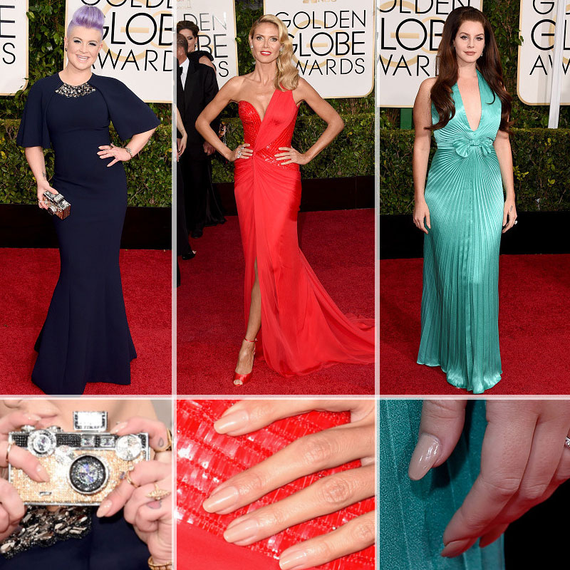 Red Carpet nails trends Golden Globes neutral nails Heidi Klum Kelly Osbourne Lana del Rey
