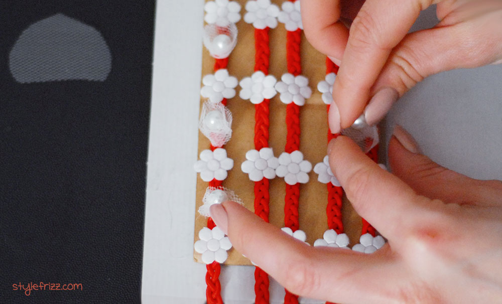 red white flowers pearls headband how to