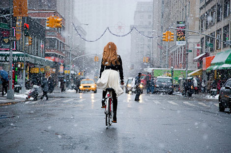 Bicycling Is Really Fashionable. Even When Snowing