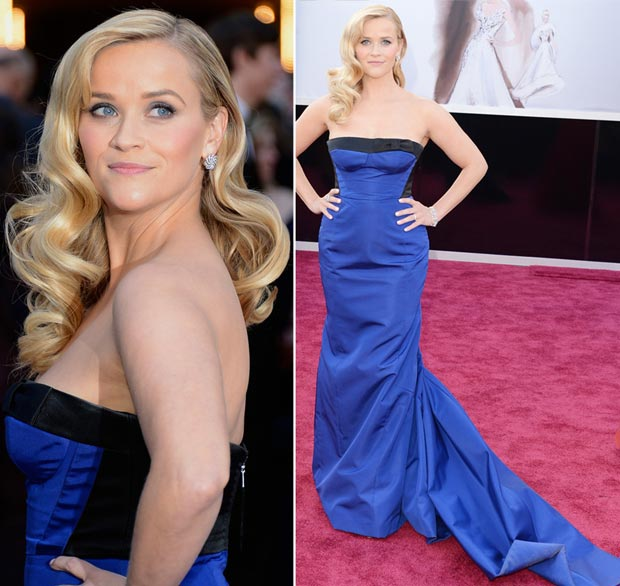 Reese Witherspoon Vuitton blue dress 2013 Oscars