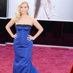 Reese Witherspoon Vuitton sleeveless blue dress 2013 Oscars