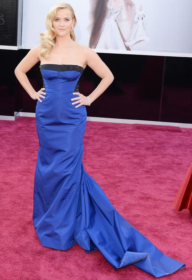 2013 Oscars Fashion Reese Witherspoon Vuitton Blue Dress