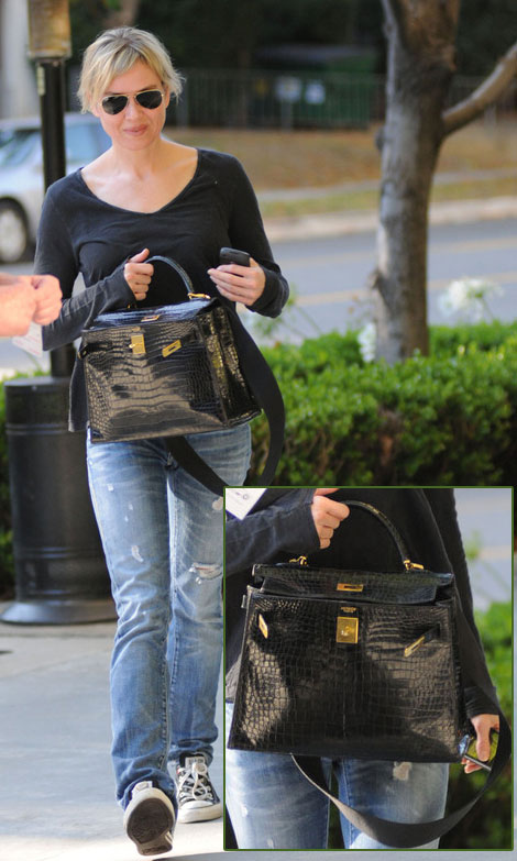 Renee Zellweger Hermes Kelly crocodile black bag