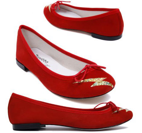 Repetto And DC Comics Flash Red Suede Ballerinas