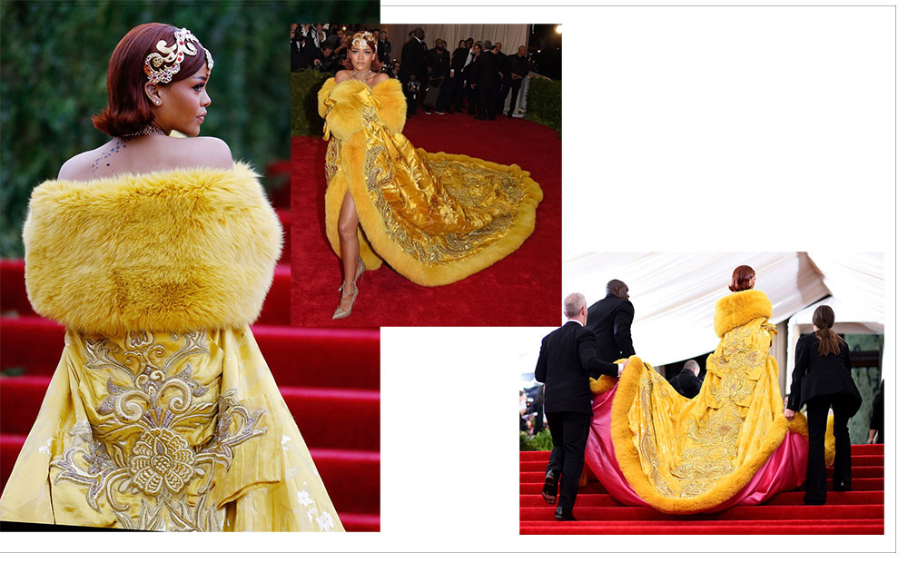 Rihanna 2015 Met Gala yellow Chinese designer dress