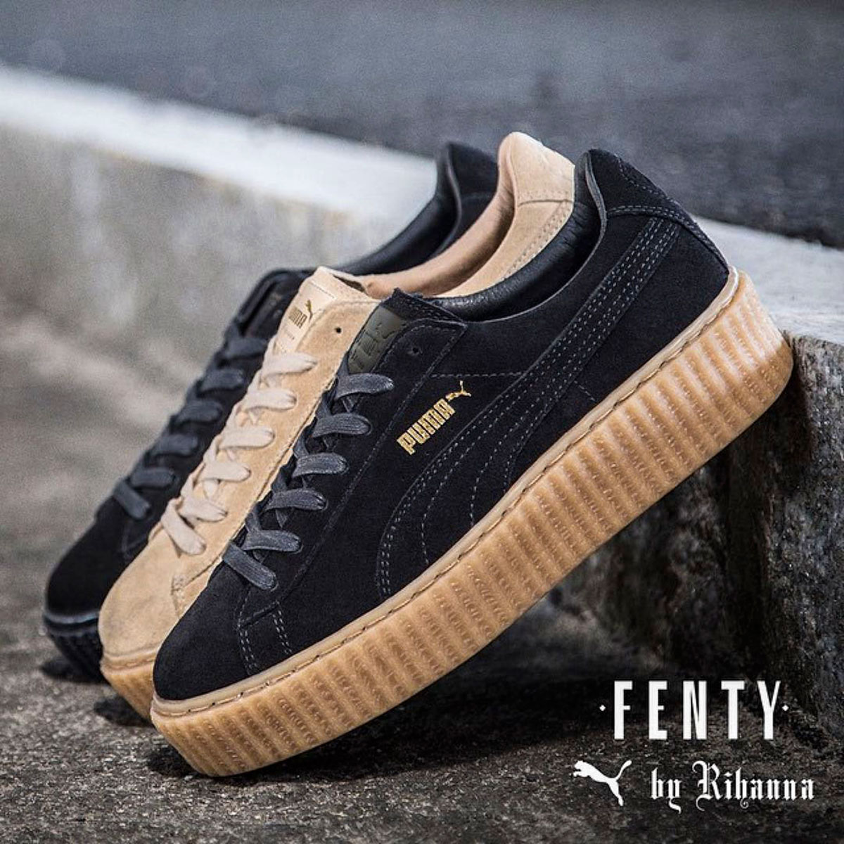 rihanna 39 s puma fenty creepers sold out in hours stylefrizz. Black Bedroom Furniture Sets. Home Design Ideas