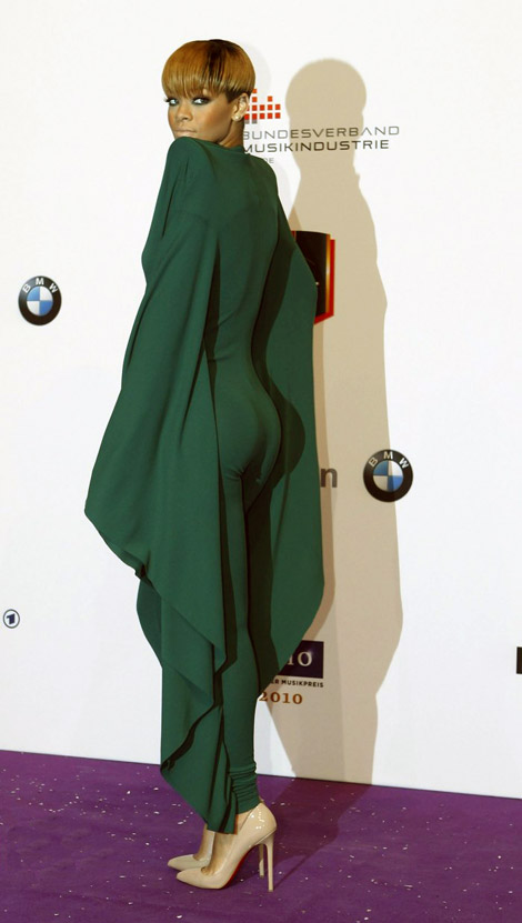 Rihanna green jumpsuit
