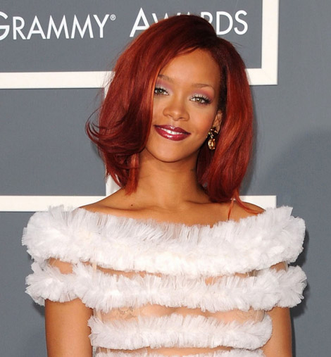Rihanna Jean Paul Gaultier dress 2011 Grammy awards