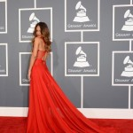 Rihanna red Alaia dress 2013 Grammy Awards
