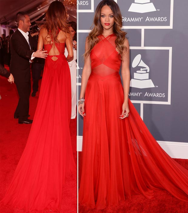 Rihanna red Azzedine Alaia dress 2013 Grammy Awards