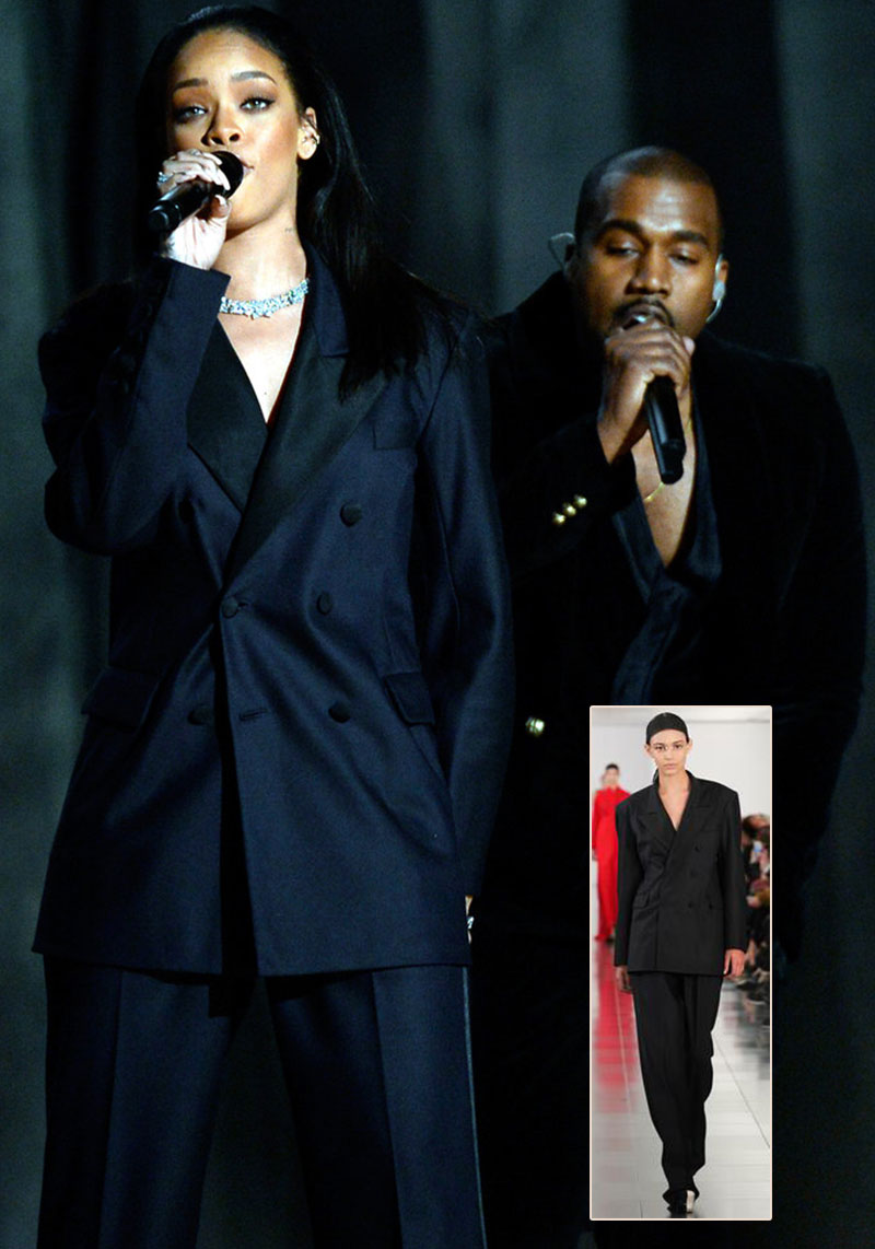 Rihanna stage performance Grammy Margiela suit