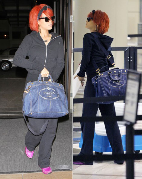 Rihanna travels with Prada denim tote