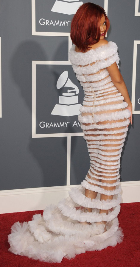 Rihanna JP Gaultier dress 2011 Grammy awards