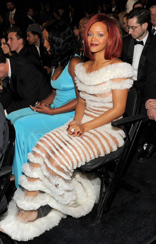 Rihanna JP Gaultier dress 2011 Grammy awards 1