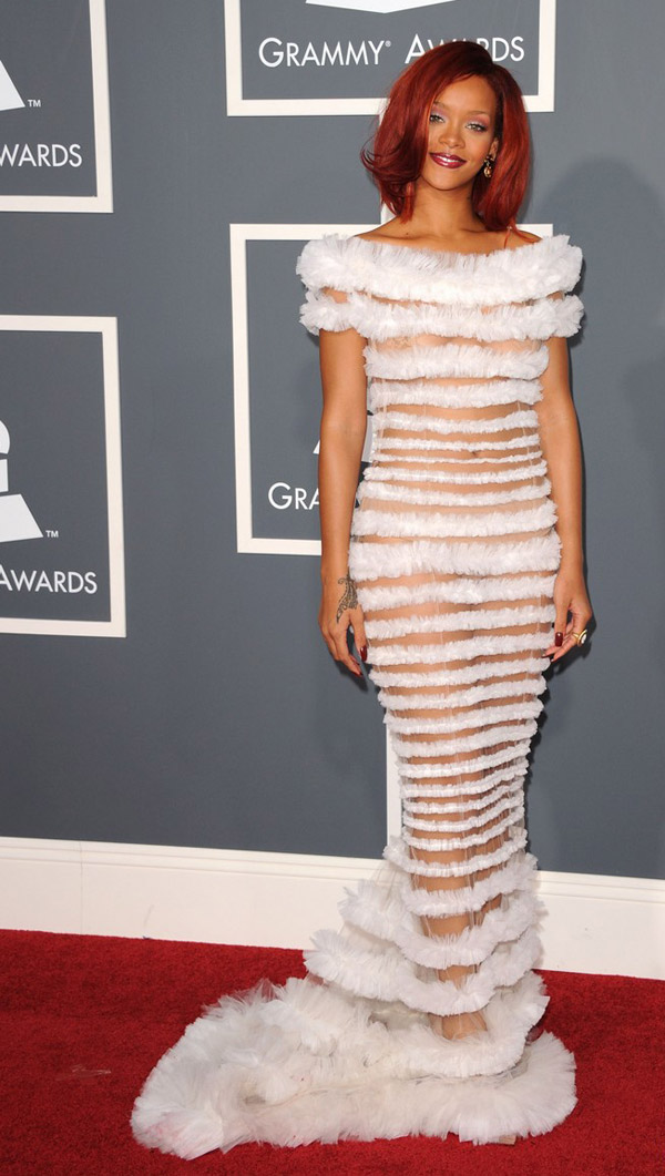 Rihanna JP Gaultier dress 2011 Grammy awards 2