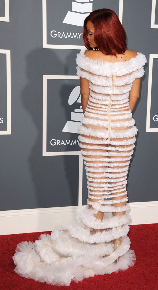 Rihanna JP Gaultier dress 2011 Grammy awards 3