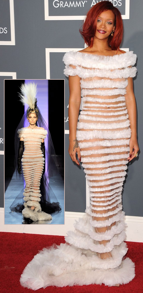 Rihanna white Jean Paul Gaultier dress 2011 Grammy Awards
