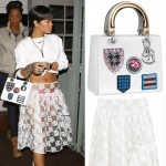 Rihanna white outfit lace skirt Simone Rocha lace oxfords Givenchy Dior bag