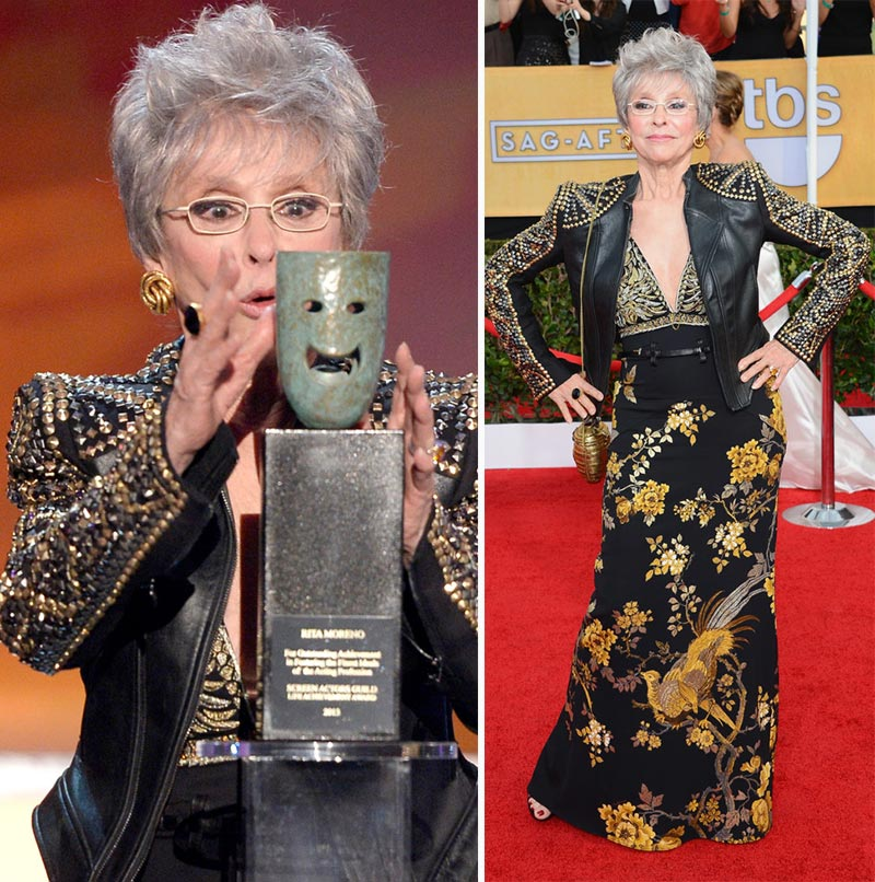 Rita Moreno black dress studded leather jacket 2014 SAG Awards
