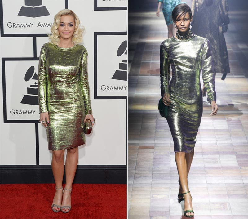 Rita Ora Lanvin dress 2014 Grammy Awards Red Carpet