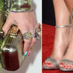 Rita Ora sandals clutch jewelry 2014 Grammy Awards