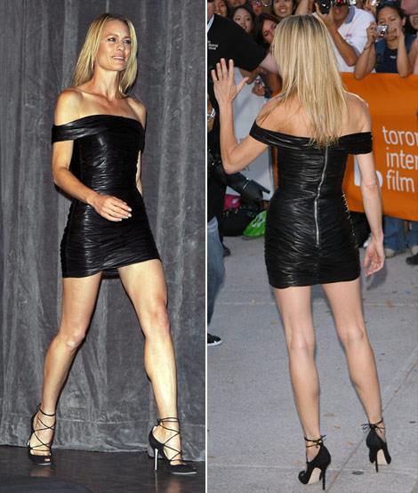 Robin Wright Penn leather mini dress