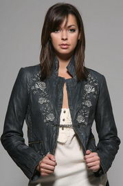 The Rock n' Rose Leather Blazer in Charcoal Couture Candy