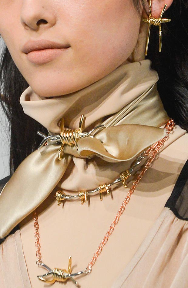 Rodarte Fall 2013 barb wire earrings necklace