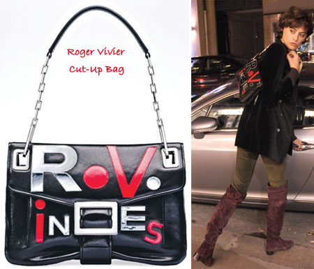 Inès de la Fressange Shows Off Her Roger Vivier Cut-Up Bag
