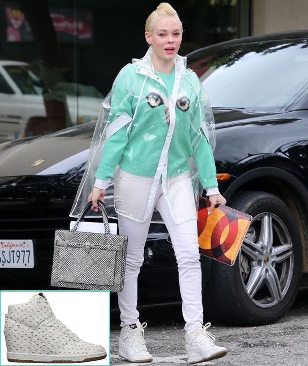 Rose McGowan white Nike wedge sneakers