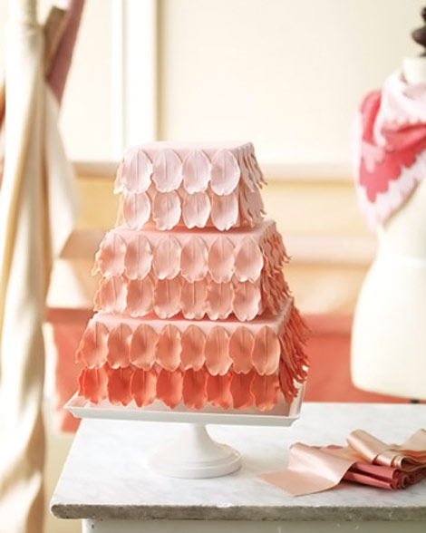 Rose petals wedding cake