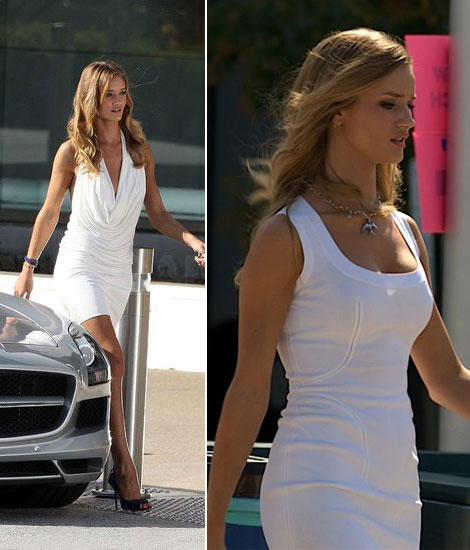 Rosie Huntington Whiteley Transformers white mini dresses
