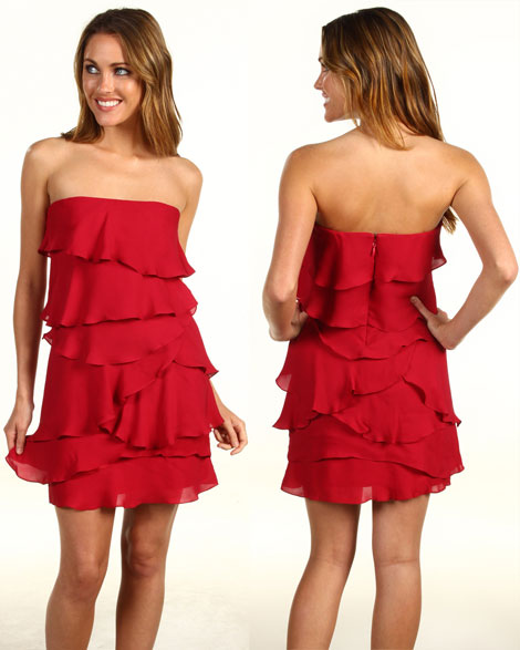 ruffled Max Azria red dress