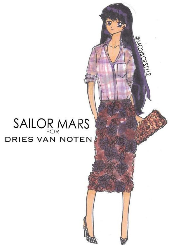 Sailor Mars wardrobe update Dries van Noten