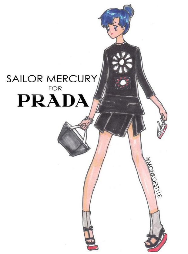 Sailor Mercury wardrobe update Prada