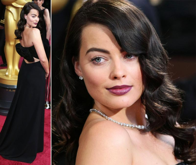 Saint Laurent black bow dress 2014 Oscars Margot Robbie