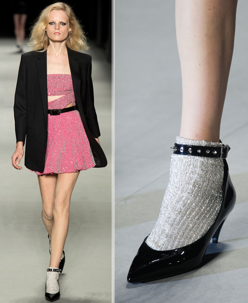 Saint Laurent catwalk look socks pumps