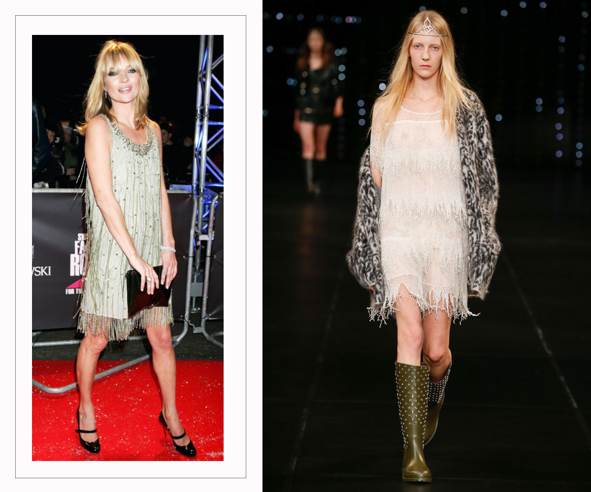 Saint Laurent SS16 collection fringe dress Kate Moss copycat