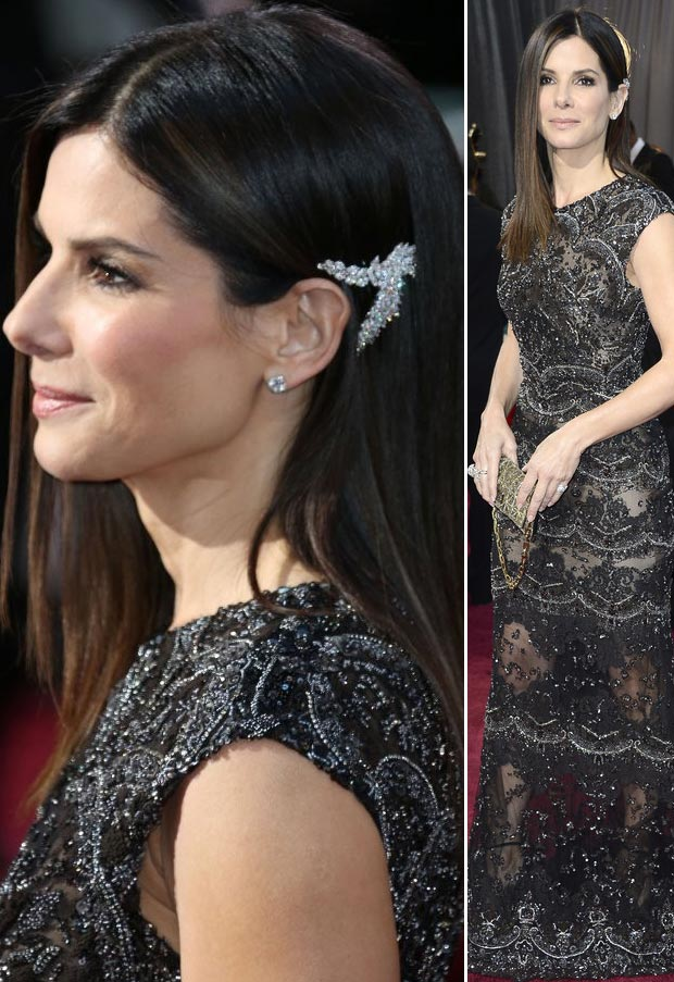 2013 Oscars Fashion: Sandra Bullock Elie Saab Black Lace Dress