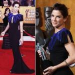 Sandra Bullock Black Alexander McQueen dress 2010 SAG