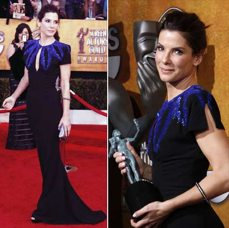 Sandra Bullock's Black Alexander McQueen Dress For 2010 SAG Awards