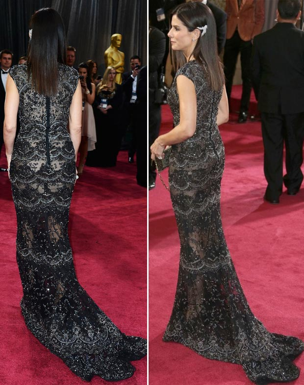 Sandra Bullock black lace dress 2013 Oscars