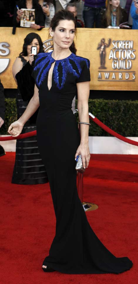 Sandra Bullock Black Alexander McQueen dress 2010 SAG awards