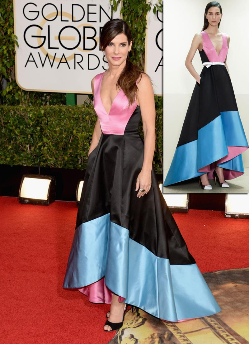 Sandra Bullock dress Golden Globes Prabal Gurung